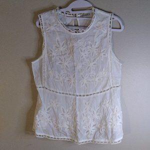 Lucky Brand Tat Lace Crochet Tank Blouse Top